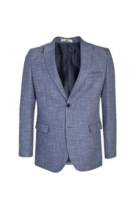 Erkek Giyim - AÇIK MAVİ 48 Beden Desenli Klasik Ceket