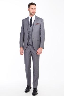 Erkek Giyim - Açık Gri 48 Beden Slim Fit Yelekli Kuşgözü Takım Elbise