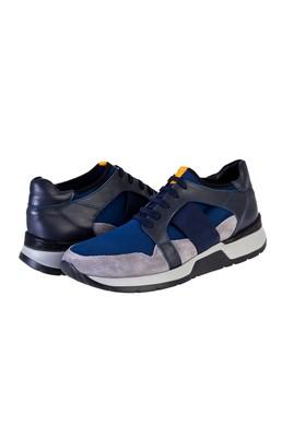 Erkek Giyim - LACİVERT 43 Beden Bağcıklı Deri Sneaker Ayakkabı