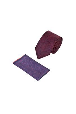 Erkek Giyim - KIRMIZI 165 Beden 2'li Kravat Mendil Set