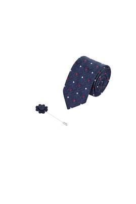 Erkek Giyim - LACİVERT 165 Beden 2'li Kravat Yaka İğnesi Set