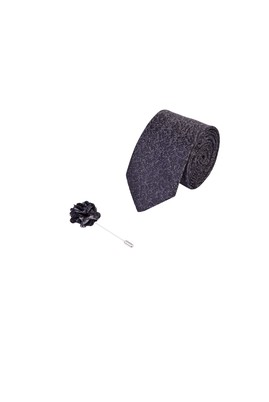 Erkek Giyim - KOYU YESİL 165 Beden 2'li Kravat Yaka İğnesi Set