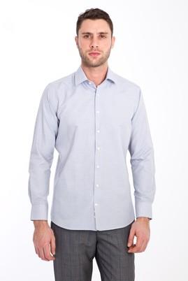 Erkek Giyim - LACİVERT XS Beden Uzun Kol Desenli Slim Fit Gömlek