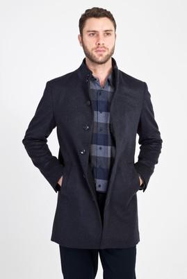 Erkek Giyim - ANTRASİT 46 Beden Slim Fit Yünlü Kaban