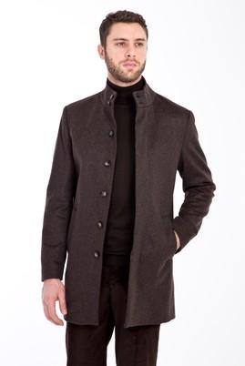 Erkek Giyim - KOYU KAHVE 46 Beden Slim Fit Yünlü Kaban