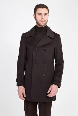 Erkek Giyim - ANTRASİT 52 Beden Yünlü Kaşe Kaban