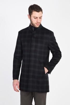 Erkek Giyim - KOYU YESİL 46 Beden Slim Fit Yünlü Kaban