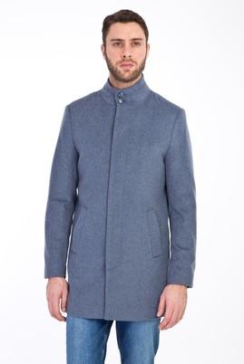 Erkek Giyim - AÇIK MAVİ 46 Beden Slim Fit Yünlü Kaban