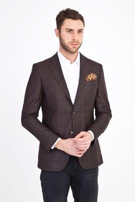 Erkek Giyim - Kahve 46 Beden Regular Fit Kareli Ceket