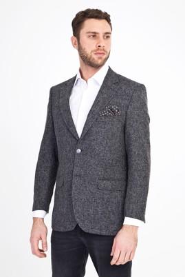 Erkek Giyim - Füme Gri 52 Beden Klasik Desenli Ceket