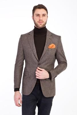 Erkek Giyim - Açık Kahve - Camel 50 Beden Yünlü Klasik Kuşgözü Ceket