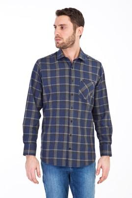 Erkek Giyim - LACİVERT 4X Beden Uzun Kol Oduncu Gömlek