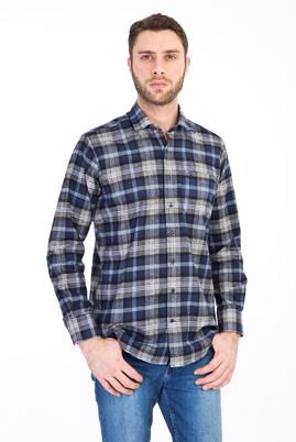 Erkek Giyim - LACİVERT 3X Beden Uzun Kol Oduncu Gömlek