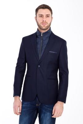 Erkek Giyim - LACİVERT 46 Beden Slim Fit Kuşgözü Spor Ceket