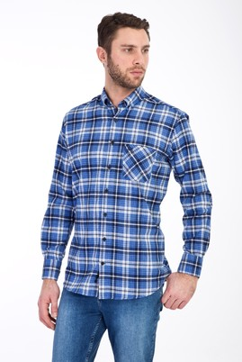 Erkek Giyim - AÇIK MAVİ XL Beden Uzun Kol Oduncu Gömlek