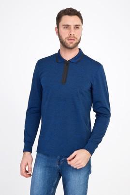 Erkek Giyim - KOYU MAVİ L Beden Polo Yaka Fermuarlı Slim Fit Sweatshirt