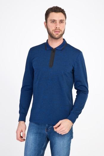 Erkek Giyim - Polo Yaka Fermuarlı Slim Fit Sweatshirt