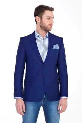 Erkek Giyim - MAVİ 52 Beden Klasik Desenli Ceket
