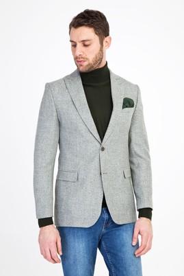 Erkek Giyim - Açık Yeşil 56 Beden Klasik Desenli Ceket