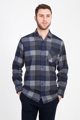 Erkek Giyim - LACİVERT M Beden Uzun Kol Regular Fit Oduncu Gömlek