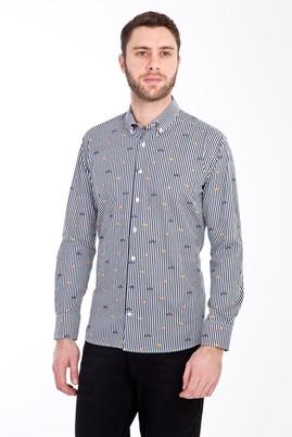 Erkek Giyim - SİYAH S Beden Uzun Kol Baskılı Slim Fit Gömlek