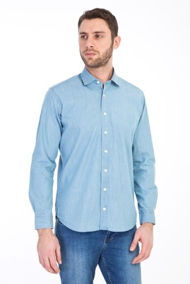Erkek Giyim - AÇIK MAVİ XL Beden Uzun Kol Denim Pamuk Gömlek
