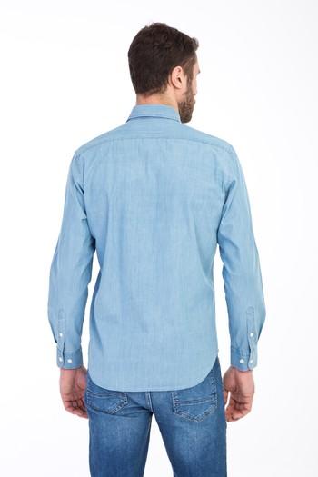 Erkek Giyim - Uzun Kol Denim Pamuk Gömlek