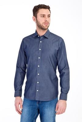 Erkek Giyim - KOYU MAVİ M Beden Uzun Kol Denim Pamuk Gömlek