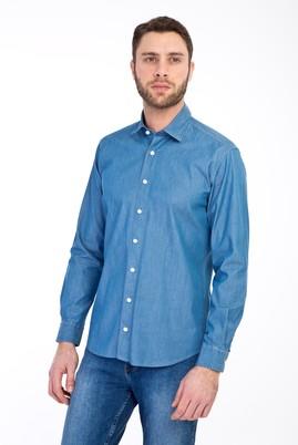 Erkek Giyim - MAVİ L Beden Uzun Kol Denim Pamuk Gömlek
