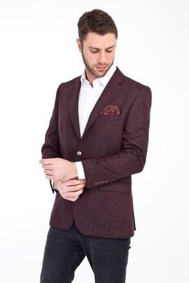 Erkek Giyim - Bordo 48 Beden Yünlü Klasik Kuşgözü Ceket