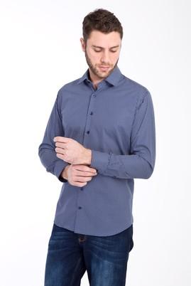 Erkek Giyim - LACİVERT XS Beden Uzun Kol Baskılı Slim Fit Gömlek