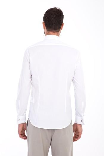 Erkek Giyim - Uzun Kol Manşetli Slim Fit Gömlek