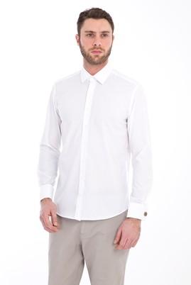 Erkek Giyim - BEYAZ XS Beden Uzun Kol Manşetli Slim Fit Gömlek