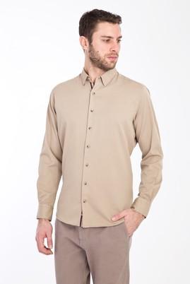Erkek Giyim - BEJ L Beden Uzun Kol Desenli Slim Fit Gömlek
