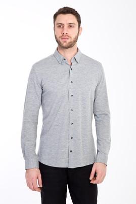 Erkek Giyim - AÇIK GRİ S Beden Uzun Kol Desenli Slim Fit Gömlek