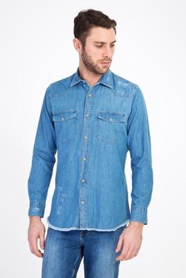 Erkek Giyim - AÇIK MAVİ S Beden Uzun Kol Denim Slim Fit Gömlek