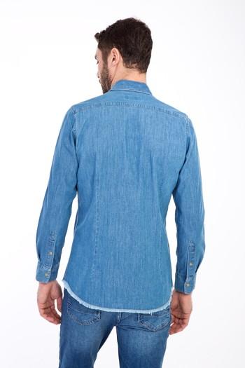 Erkek Giyim - Uzun Kol Denim Slim Fit Gömlek