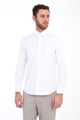 Erkek Giyim - BEYAZ S Beden Uzun Kol Manşetli Slim Fit Gömlek