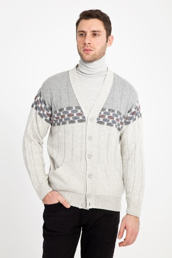 Erkek Giyim - Regular Fit Yünlü Desenli Hırka