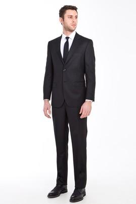 Erkek Giyim - Siyah 56 Beden Regular Fit Yünlü Çizgili Takım Elbise