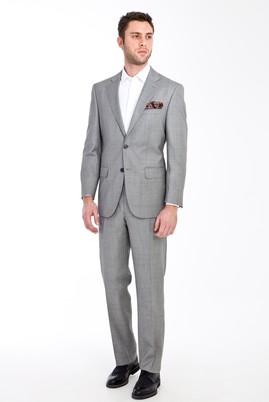 Erkek Giyim - Açık Gri 48 Beden Yünlü Kuşgözü Takım Elbise