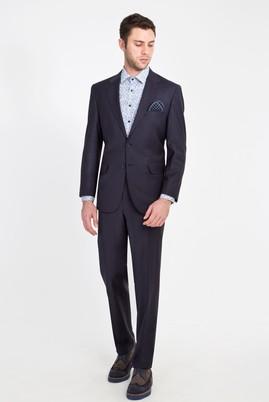 Erkek Giyim - Lacivert 56 Beden Yünlü Klasik Takım Elbise