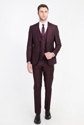 Erkek Giyim - Bordo 46 Beden Slim Fit Yelekli Kuşgözü Takım Elbise