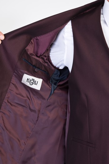 Erkek Giyim - Slim Fit Yelekli Kuşgözü Takım Elbise