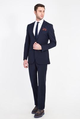 Erkek Giyim - Lacivert 50 Beden Yünlü Klasik Takım Elbise