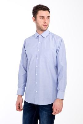 Erkek Giyim - MAVİ XL Beden Uzun Kol Desenli Klasik Gömlek