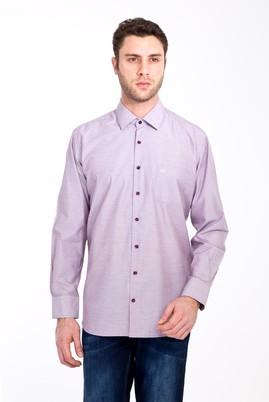 Erkek Giyim - BORDO 3X Beden Uzun Kol Desenli Klasik Gömlek