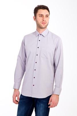 Erkek Giyim - KIRMIZI L Beden Uzun Kol Desenli Klasik Gömlek