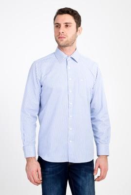 Erkek Giyim - MAVİ XXL Beden Uzun Kol Çizgili Klasik Gömlek