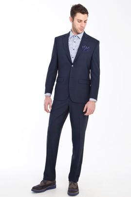 Erkek Giyim - SİYAH LACİVERT 50 Beden Yünlü Desenli Takım Elbise